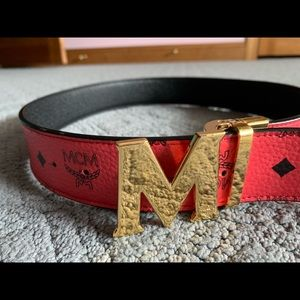 MCM belt XL trimmed down to size 30 black red